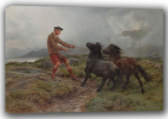 Bonheur, Rosa: A Ghillie and Two Shetland Ponies in a Misty Landscape. Fine Art Canvas. Sizes: A4/A3/A2/A1 (001596)